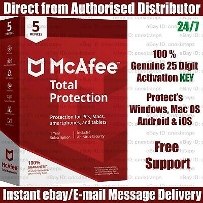 McAfee Total Protection 2019 : 05 Devices -1 Year KEY Instant eBay Message