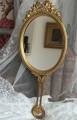Superb Antique French Solid Ormulu Bronze Hand Mirror Marie Antoinette Roses