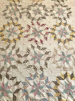 """Charming Antique Handtied Handmade Star Patchwork Quilt 47"""" By 75"""""""