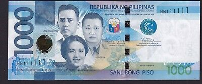 Philippines 1000 Pesos SOLID Serial SN# NM 111111  Banknote UNC