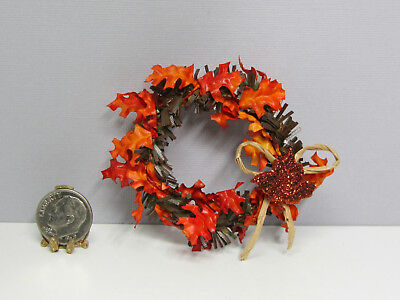 Dollhouse Miniature Fall Grapevine Wreath with Leaves /& Berries ~ CAR1361