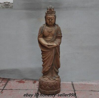 antique Rare Chinese Temple Old Wood Carved Guan yin Kwan-yin Buddha Statue