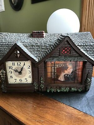 "Vintage Haddon Working ""Home Sweet Home"" Clock W/Grandmother Rocking 1940's!"
