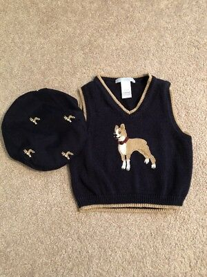 Janie and Jack Navy Blue Sweater Vest with Dog - 6-12 Months w/ Matching Hat