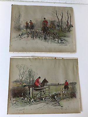 Vintage AVM & Co Picture Art Men Horse Riders Jockeys Dog Pack Farm Trees 8 x 6
