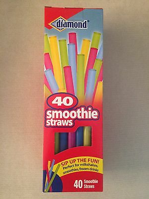 Diamond Neon Plastic Party Smoothie Milkshake Straws 40 Ct Assorted Boxed 9""