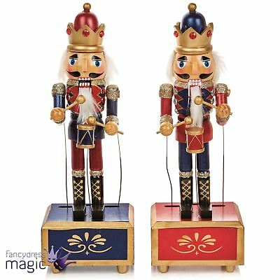 Animated Wooden Nutcracker Soldier Music Box Wind Up Christmas Decoration Gift