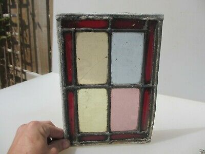 "Antique Stained Glass Window Panel Old Antique Leaded Victorian Vintage 10"" x 7"""