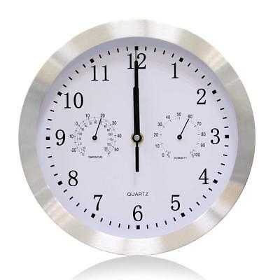 VSENCE Silent Non-ticking Quartz Wall Clock with Thermometer and Hygrometer 10