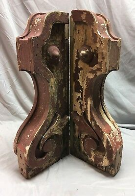 Large Pair Antique Victorian Roof Red Corbels Shelf Brackets Vtg Chic 46-18C