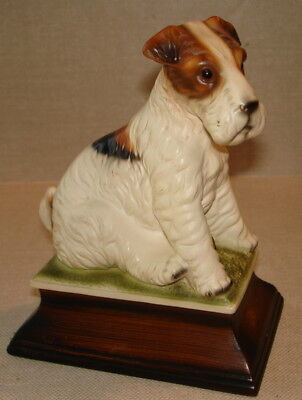 Vintage Signed Wire Fox Terrier Figurine-Japan