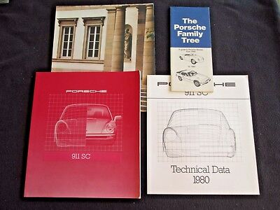 1980 Porsche 911SC Coupe & Targa Deluxe Brochure 911 SC & Sales Catalog Set+Tree