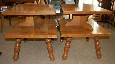 Pair Solid Wood End Tables Hard Rock Maple Finish Square 2 Tier Spindle Legs