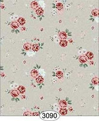 *SALE* Dollhouse Miniature 1:12 Scale Wallpaper Rose Hill Small Floral Red