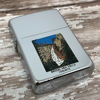 1989 Vintage Zippo Lighter - Bridal Veil Falls - Yosemite - High Polish Chrome