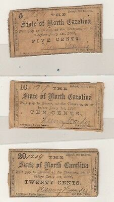 Mixed Lot of North Carolina Confederate Fractional Currency