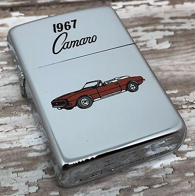1990 Vintage Zippo Lighter - 1967 Chevy Camaro Design - High Polish Chrome