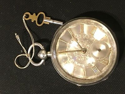 Victorian 1891 London 925 silver pocket watch, working with keys, Kendal & Dent