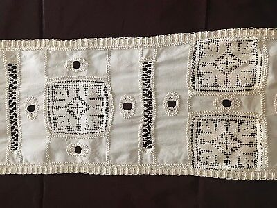 """HANDMADE French """"CHEMIN DE TABLE"""" FILET LACE and embroidery 56"""" by 12"""""""