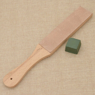 Wooden Handle Leather Sharpening Strop Polishing Compound Set for Razor Cutter