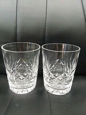 """Pair of Signed Waterford Crystal LISMORE 4 3/8"""" Double Old Fashion Glasses Rocks"""