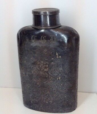 Great Vintage Engraved Silver Flask - Victor Silver Co Quadruple Plate - 1843