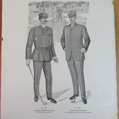 1904 American Fashion Golf Formal Suit Lithograph - Vintage 16x19 Poster