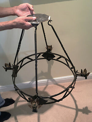 """Vintage Hand Forged Large Iron Medieval Gothic Chandelier 30"""" w x 25"""" h"""