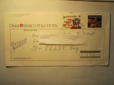 Brief Ganzsache Beleg Briefmarken Singapore Germany Air Mail gestempelt
