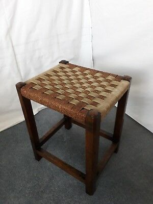 Vintage Dark Oak Wooden Stool with Woven Seagrass Top Seat
