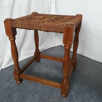 Vintage Light Wooden Stool with Woven Seagrass Top Seat