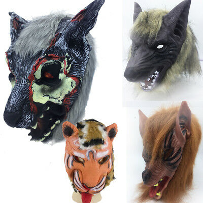 HALLOWEEN ANIMAL MASK Masquerade Cosplay Props Lion Tiger Wolf Party Hat  Rubber