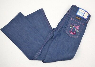 Vtg 1980's Maverick Girls Blue Jeans Pink Stitch Deco Boot 6 Slim