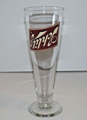 Schlitz Beer Pedestal Glass - Label Is Upside Down on Glass