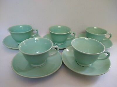 LuRay Pastels Green Cups Saucers Set of 5
