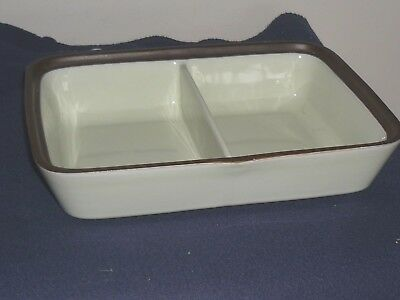 """DENBY Stoneware Divided Vegetable Server Light Green with Brown Trim (11 x 8"""")"""