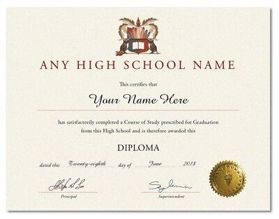 High School Diploma Personalized w/ Gold Seal Ivory - Novelty Replacement