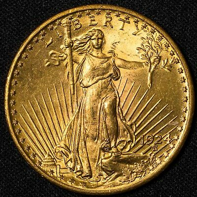 1924 BU $20 Saint Gaudens Gold Double Eagle Item#T9644