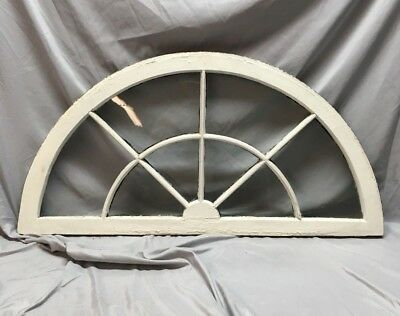 Antique 8 Lite Arched Half Round Transom Window Sash Sunburst 21x43   50-18C