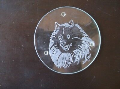 Keeshond   -  Hand Engraved Coaster  by Ingrid Jonsson.