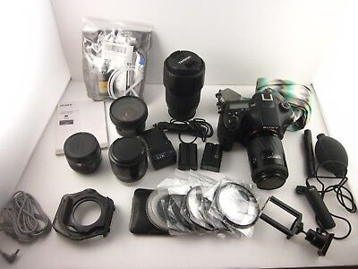 74472) Sony Alpha a77 II DSLR Camera HUGE Bundle w/ 5 Lenses, Carrying Bag +MORE
