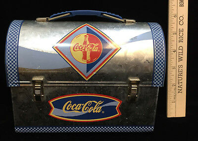 Coca Cola Coke Mini Lunchbox Tin Container Blue & Galvanized Steel Coke 6""