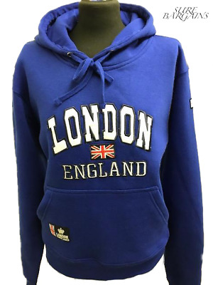 London England Union Jack Pullover Embroidery Hoodie Casual Jumper Souvenir Men