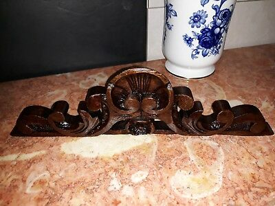 Antique Small Decorative Hand Carved Wood Pediment