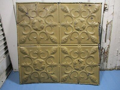"Antique Ornate Tin Ceiling, 24"" x 24"" w/ Mustard Color, Nice Overall Condition"