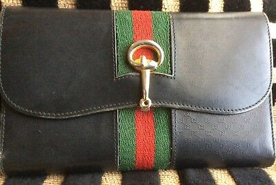 Gucci Vintage Black Blue Wallet Horsebit Checkbook Wallet Green & Red Stripes
