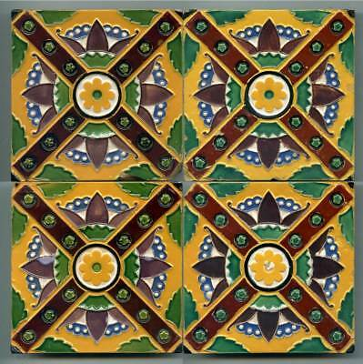 """Set of 4 relief moulded 4""""sq Majolica tiles by Minton Hollins & Co, c1870"""