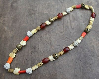 Antique Japanese Ojime Bead Necklace of 45 Beads Meiji Taisho Period 1880-1900