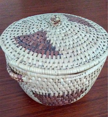 Vintage hand woven basket with lid from Botswana