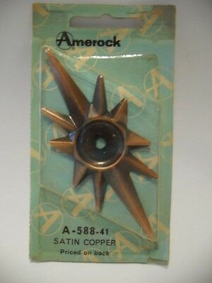 VINTAGE NOS Satin COPPER STAR knob BACKPLATES Art Deco Catalina Amerock 588